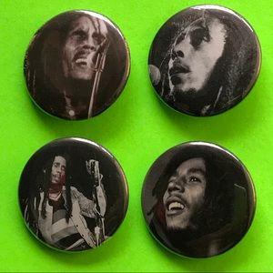 "Accessories - Bob Marley 1.5"" pinback button set"